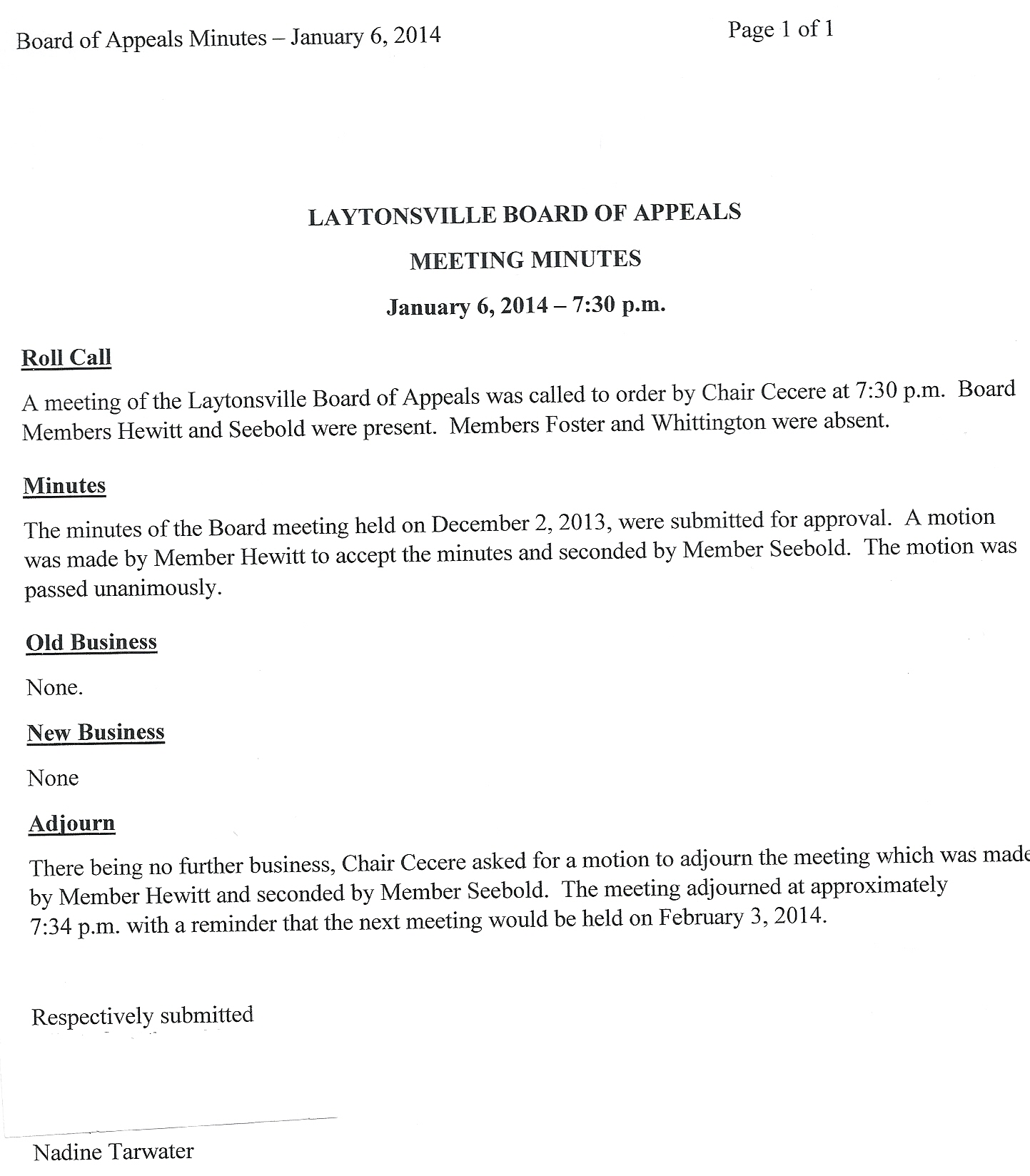 town of laytonsville boa meeting minutes